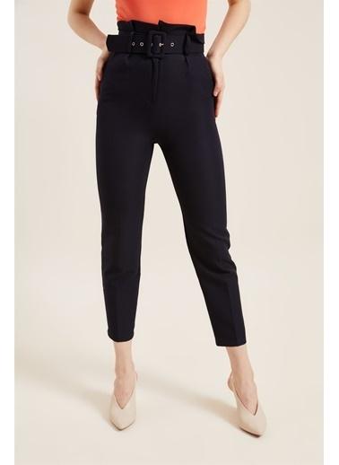 Z Giyim Kadın  Mavi  Kemerli Yüksek Bel Kumaş Pantolon Lacivert